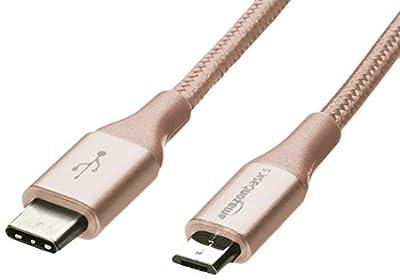AmazonBasics Double Braided Nylon USB Type-C to Micro-B 2.0 Male Cable | 1.8 m, Gold