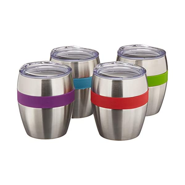 Stainless Steel Insulated Drink Cups with Lids for Kids and Adults, Set of 4 (10oz.)