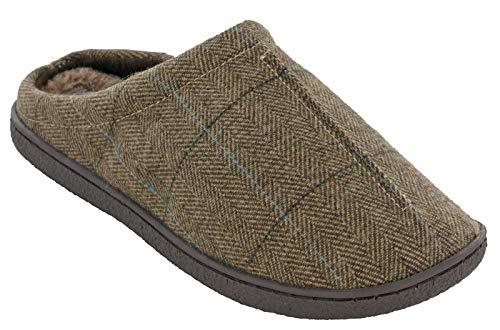 Cushion Walk Pantoffeln für Herren, gefüttert, gefüttert, Winterschuhe, Größe 41-46, Braun - Gary Brown Tweed - Größe: 45 EU