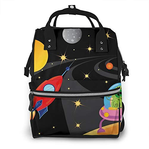 Risating Mummy Backpack - Spaceship Universe Baby Changing Bags Multifunction Waterproof Twill Canvas for Travel