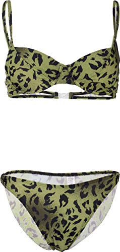 Damen Bademode Leopard Leomuster Animal Print Bikini Grün S