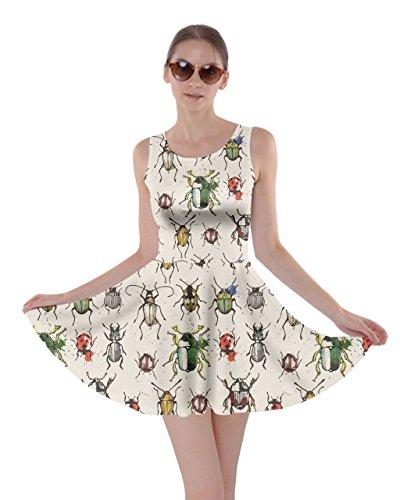 CowCow Beige Watercolor Beetles Skater Dress, Beige - 2XL