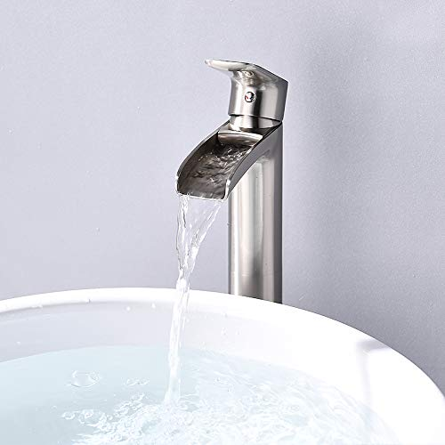 NEWATER Waterfall Spout Tall Vessel Bathroom Sink Faucet,Basin Mixer Tap Single Handle One Hole Brushed Nickel