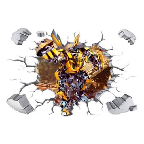 LCFF Wandtattoo 3D Wandaufkleber Wandbilder Super Hero Transformers Optimus Prime Hornet Boss-Roboter Aufkleber Dekorative Removable Tapete Self Adhesive Kind-Raum-Wand-Dekor 60x90cm (Color : A)