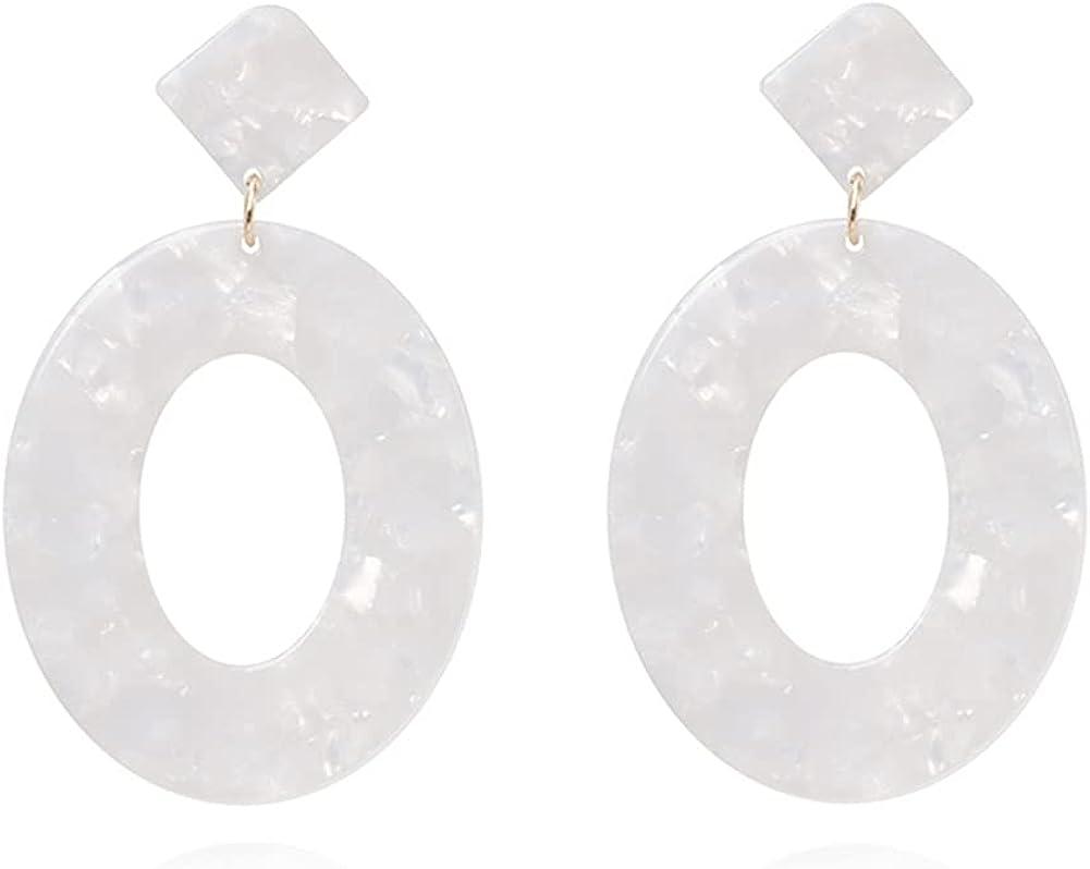 DIYANMMY Acrylic Statement Geometric Earrings Resin Acetate Drop Dangle Mottled Hoop Earrings Fashion For Women Girls Jewelry