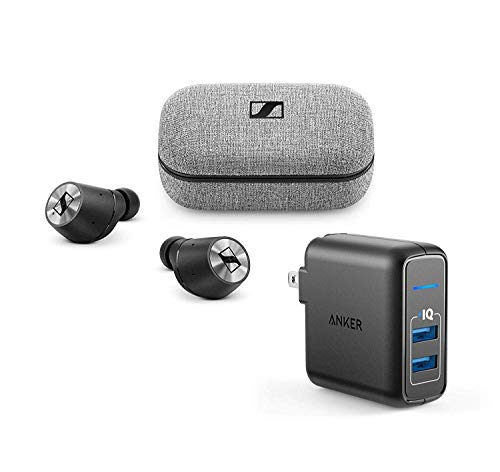 Sennheiser Momentum True Wireless Bluetooth Earbuds Bundle with 2-Port USB Wall Charger - Fingertip Touch Control