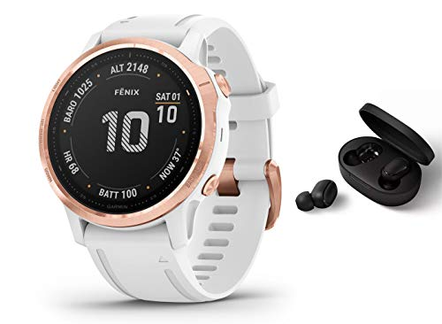 Garmin Fenix 6S PRO - GPS Multisportuhr - Weiss/Rosegold inkl. Bluetooth Headset