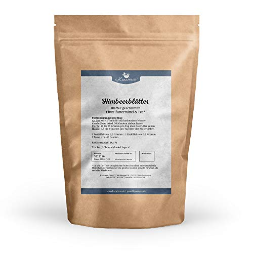 Krauterie Himbeer-Blätter in sehr hochwertiger Qualität, frei von jeglichen Zusätzen, als Tee oder für Pferde und Hunde (Rubus idaeus) – 500 g