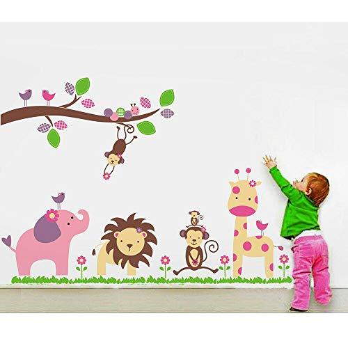Chilits - Papel pintado para niños, diseño de animales de la selva, mono, jirafa, elefante, pegatinas de pared autoadhesivas para guardería, dormitorio, sala de estar, decoración del hogar