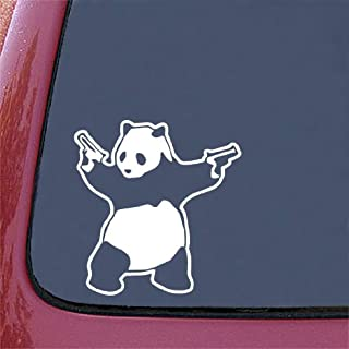 Yadda-Yadda Design Co. Shooting Panda - Car Vinyl Decal Sticker - White - (5.75