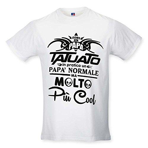T Shirt Maglia Maglietta Idea Regalo per Il Papa' Papa' Tatuato XL Bianca