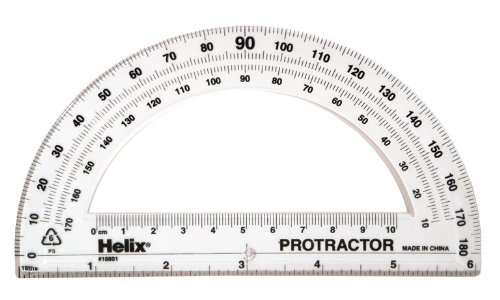 Helix Standard 180 Degree Protractor, 6 Inch / 15cm, Assorted Colors (18801)