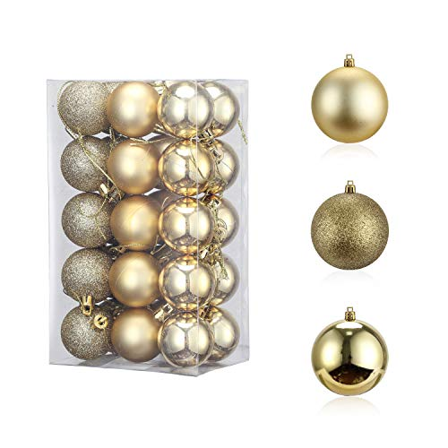 30PCS 40mm Christmas Ball Ornament, Shatterproof Christmas Decorations Tree Balls, Hanging Christmas Ornaments Baubles Set Hooks Included, for Holiday Wedding Party Decor, Tree Ornaments, Golden