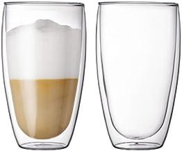 Bodum PAVINA Coffee Mug, Double-Wall Insulated Glass Mug, Clear, 15 Ounces Each (Set of 2)