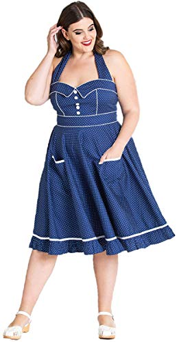 Hell Bunny Vanity Polka Dots Punkte Petticoat Kleid (2XL| Blau mit weißen Dots Plus Size) | Bekleidung > Kleider > Petticoat Kleider | Hell Bunny
