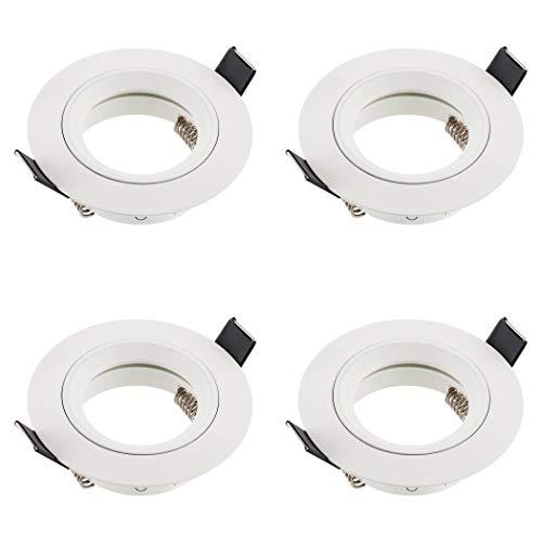 SEBSON Einbaustrahler rund Alu weiß 4er Pack, Einbaurahmen Lochdurchmesser 65mm, Decken Spot inkl. GU10 Fassung für LED/Halogen