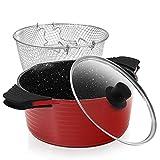 ROSSETTO Freidoras,sarten freidora con cestillo extraíble y tapa de cristal,Aluminio fundido con recubrimiento antiadherente,Rojo-24cm,apto para lavavajillas y todos tipos de Cocinas Incluso Induccion