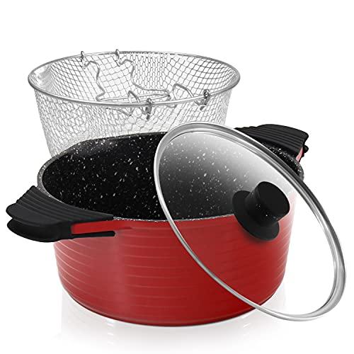 ROSSETTO Freidoras,sarten freidora con cestillo extraíble y tapa de cristal,Aluminio fundido con recubrimiento antiadherente,Rojo-24cm,apto para lavavajillas y todos tipos de Cocinas Incluso I