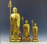 DQQQ Le Roi du Tibet en Bronze Pur Se Dresse au Pays des Lotus,la Grande Statue en Bronze du Roi Bodhisattva-8.3x8.3x23.5cm