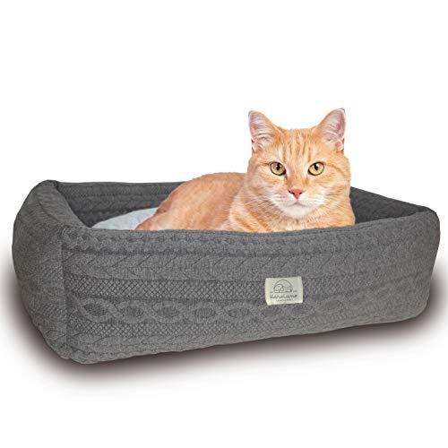Haustierbett für Katzen & kleine Hunde 54 x 40cm I Wendekissen I Katzenbett Hundebett Schlafplatz