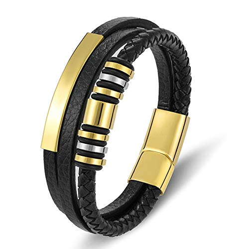 GUOZHIJUN Moda Trenzada Cuerda Cuero Hombres Encantos Pulseras Accesorios De Acero Inoxidable Magnético Joyería Brazaletes