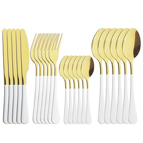 Set de cubiertos de espejo de plata rosa 24pcs Conjunto de vajillas de cubiertos de cubiertos de cubiertos de cubiertos Cuchara de cuchillo de acero inoxidable Sildeware (Color : White Gold)