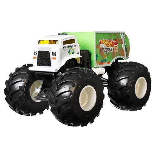 Hot Wheels GJG72 - Monster Trucks 1:24 Spielzeugauto Die-Cast Trash it all, Spielzeug ab 3 Jahren