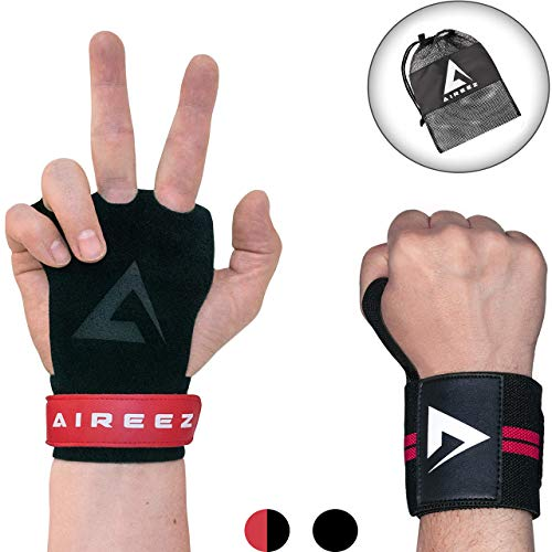 Aireez 2 in 1 Crossfit Handschuhe - Fitness Handschuhe & Handgelenk Bandagen Set MR Trainingshandschuhe, Sporthandschuhe Damen & Herren...