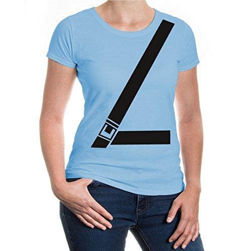 buXsbaum® Damen Girlie T-Shirt Anschnallgurt | Sicherheitsgurt Seatbelt Gurt Sicherheit Auto | L, Blau