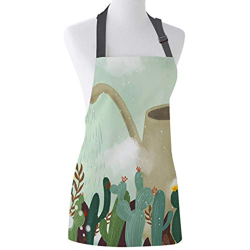 Prime Leader Adjustable Bib Apron Kettle Watering Cactus Kitchen Chef Aprons for Women and Men with Extra Long Ties for Cooking/Restaurant/Cafe/Baking/Gardening 19' x 23'