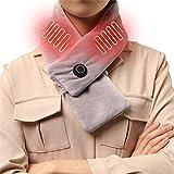 Magnifier Bufanda con calefacción con Almohadilla térmica para Cuello Bufanda con calefacción eléctrica Recargable por USB para Hombres y Mujeres Otoño Invierno y Exteriores,Gris