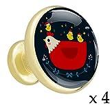 Poule et poulet Bouton de tiroir placard Poignées de porte de meuble en or métal doré avec verre de cristal pour la commode penderie porte(paquet de 4) 3.2x3x1.7cm