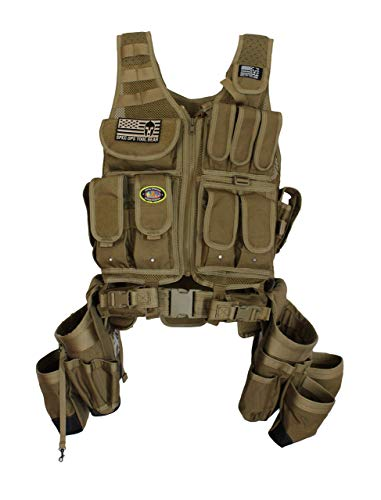 """Spec Ops Tool Gear SF-18 Charlie Tactical Vest Tool Belt with Large Pouches, Weight Dispersal Work Vest, Up to 43"""" Waist - The Engineer (Coyote Tan)"""