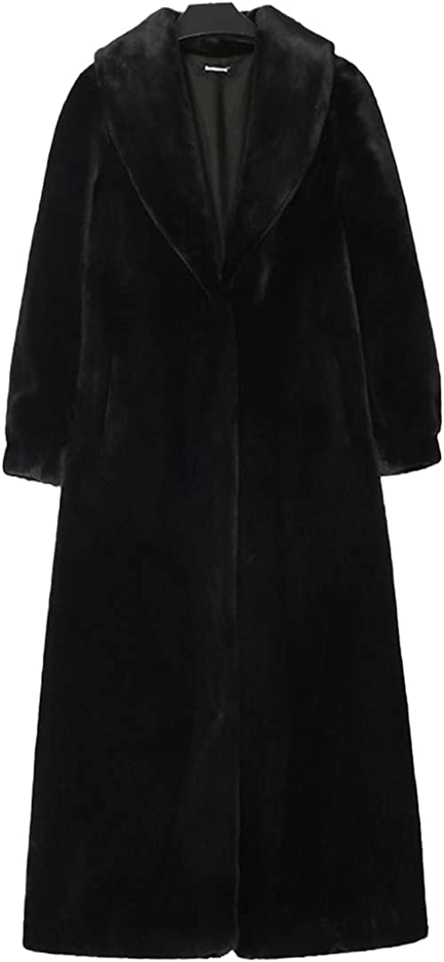 Women Fluffy Warm Faux Fur Coat Long Sleeve Shawl Collar Long Furry Overcoat