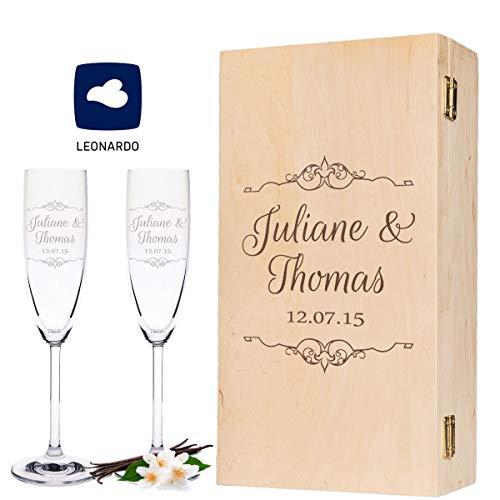 Leonardo Sektgläser mit Gravur Namen & Datum - Vintage Wedding Design + Holzkiste - Geschenk zur Hochzeit, Verlobung Jahrestag - Personalisiert - das perfekte Hochzeitsgeschenk