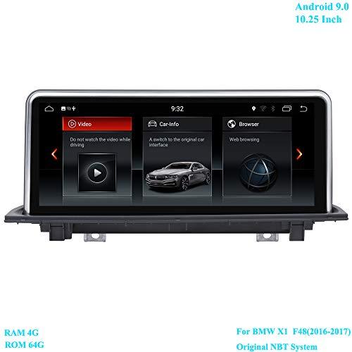 XISEDO 10.25 Zoll Bildschirm Android 9.0 RAM 4G ROM 64G Autoradio Moniceiver mit GPS Navi für BMW X1 F48(2016-2017) Ursprüngliches NBT System