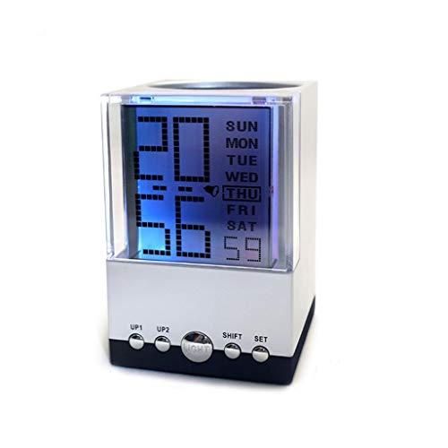 Reloj de Mesa Creativo Colorido Perpetuo Calendario Pluma Reloj despertador 7 Color Brillante Color Reloj despertador LED Moda digital Personalidad Oficina Estudiante Pluma Titular Multifunció