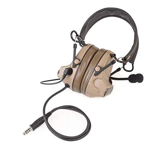 Auriculares tácticos Comtac II de camuflaje con reducción de ruido, auriculares tipo casco sonido electrónico de seguridad para los oídos con micrófono., Talla única, DE ✅