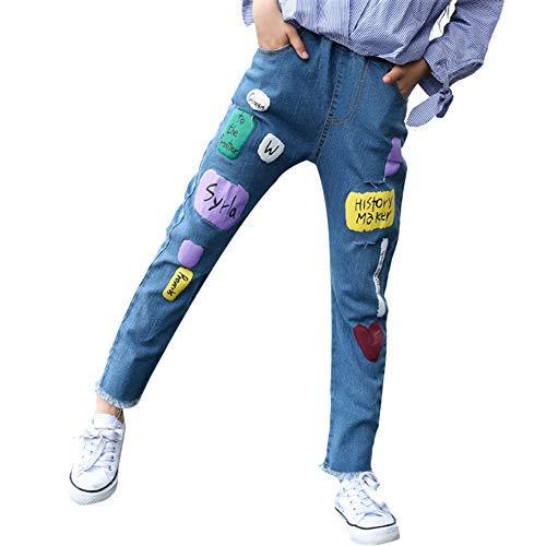Xuxuou Damenhosen Damenjeans Kinderjeans Mädchenjeans Lose Jeans Bedruckte Hose Elastische Hosen Lange Hosen Frühling und Herbst Size 140cm