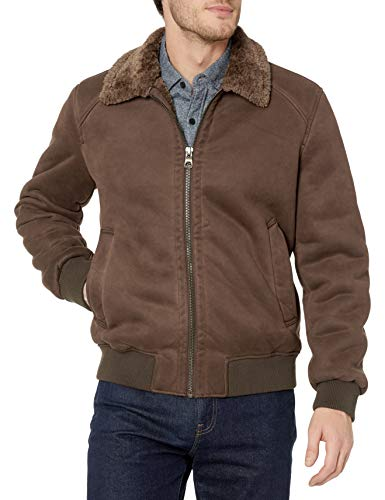 GUESS Men's Faux-Suede Bomber Jacket, Brown, XX-Large