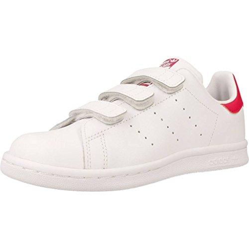 adidas Originals Stan Smith CF C, Zapatillas Unisex Niños, Blanco (Footwear White/Footwear White/Bold Pink 0), 30 EU
