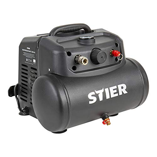 STIER Kompressor MKT 200-8-6 für Druckluft-Werkzeug, 1200 W, 8 bar, 6 Liter Tank, 10 kg, Abschaltautomatik, Werkstattkompressor, ölfreier Luftverdichter