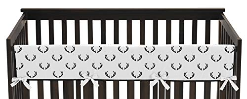 Sweet Jojo Designs Woodland Deer and Arrow Boy Long Front Crib Rail Guard Baby Teething Cover Protector Wrap - Black and White Rustic Country Lumberjack