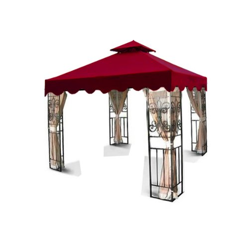 New MTN Gearsmith 10'x10' Two Tier Replacement Garden Gazebo Canopy Top with Scallop Edge Sun Shade - Burgundy