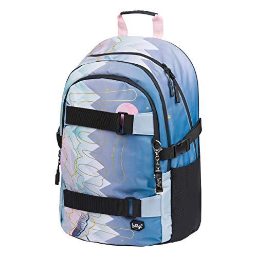 Schulrucksack für Mädchen Teenager - Skateboard Rucksack - Kinderrucksack mit Laptopfach und Brustgurt für Schule (Skate Moon)
