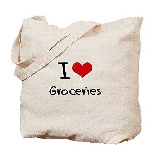CafePress Einkaufstasche I Love Groceries, canvas, khaki, M