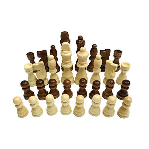 Hotaluyt Juego de ajedrez de Madera de 7,7 cm Rey 32 Piezas de ajedrez Figuras Peones Adultos Torneo de Juego de los niños de Juguete
