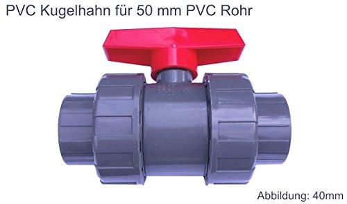 EXCOLO PVC Kugelhahn Ventil Kunststoff Kugelventil 32 mm - 63 mm für PVC Rohre für Wasser Pool Teich (Mit 50 mm PVC Rohr Muffen)