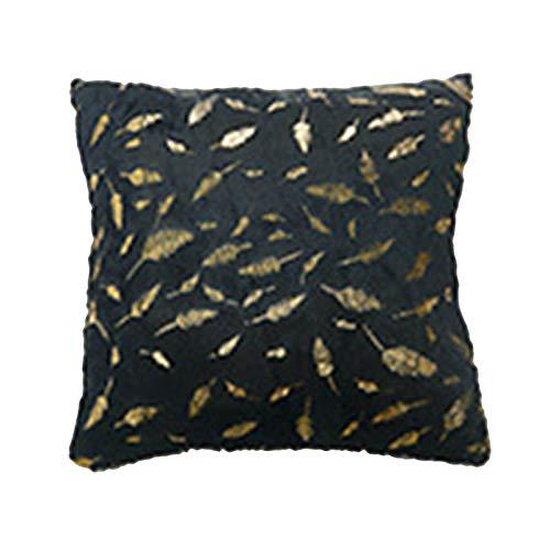 dontdo Funda de cojín de felpa de doble cara con plumas bronceadas para el hogar, funda de almohada de felpa de plumas doradas, suave funda de cojín para decoración del sofá, color negro