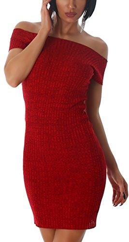Jela London Carmen Stretchkleid Strickkleid dünn Midi Slim-Fit Streifen zweifarbig, Rot